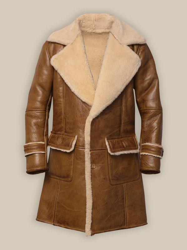 men brown shearling leather coat