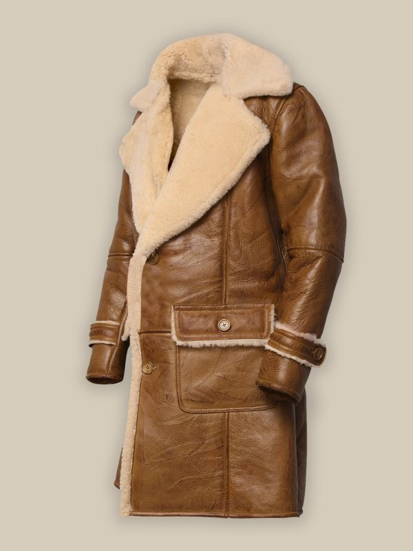 men brown shearling trench