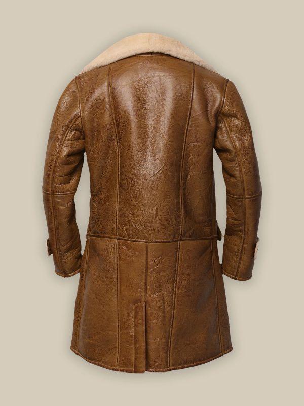 trendy men brown shearling coat