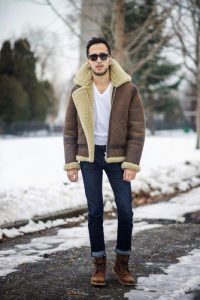 Men brown shearling jacket, trending brown sheepskin jacket,