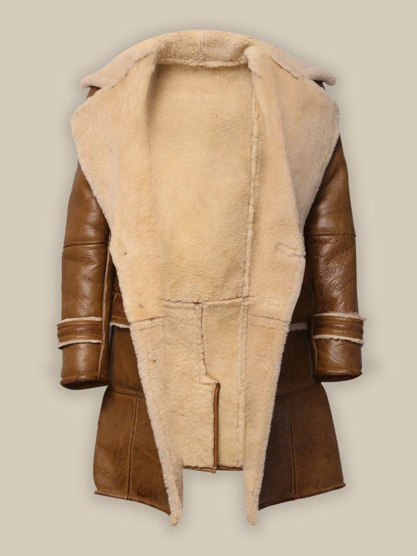 men brown shearling long coat