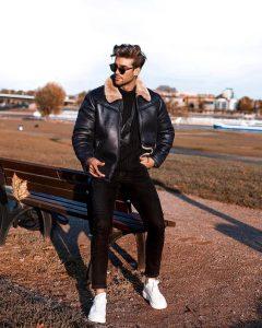 shearling leather jacket, mens shearling jacket