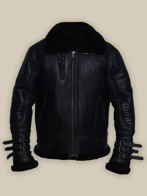 men pitch black shearling jacket