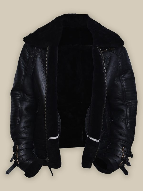 trendy men shearling leather jacket