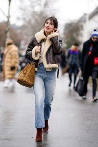 women shearling leather jacket, stylish women sheepskin jacket,