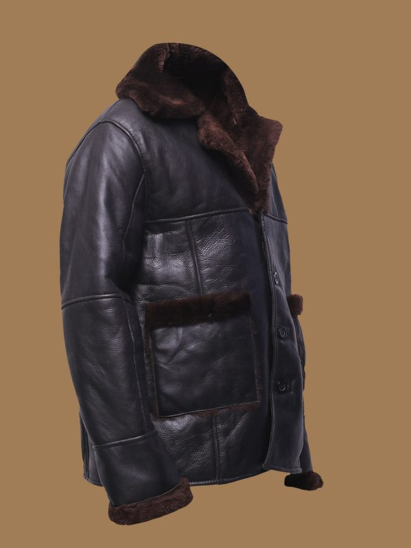 men pitch black shearling jacket
