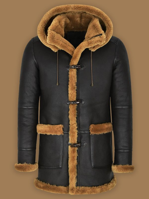 men pitch black shearling coat