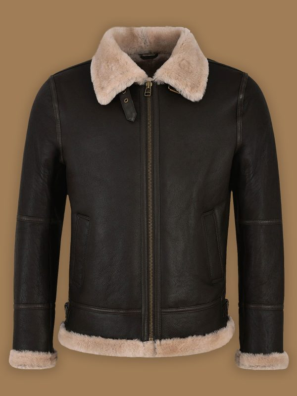 trending men black sheepskin jacket