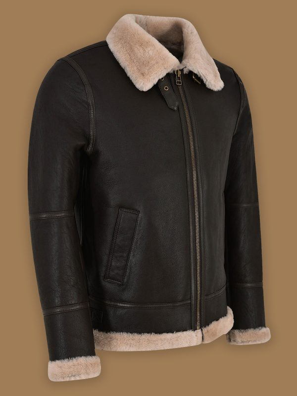 trendy black shearling jacket for men
