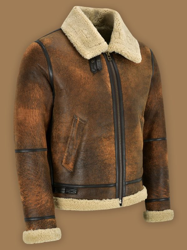 stylish brown shearling jacket for men