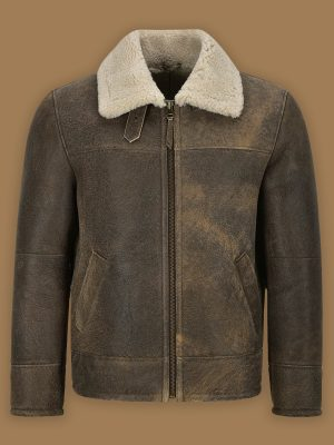 traditional men brown shearling jacket