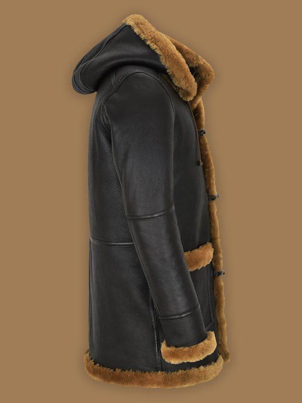 trending men black shearling coat