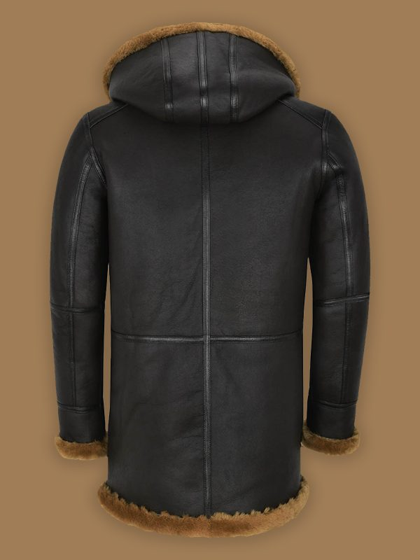 men black shearling leather coat with hoodie