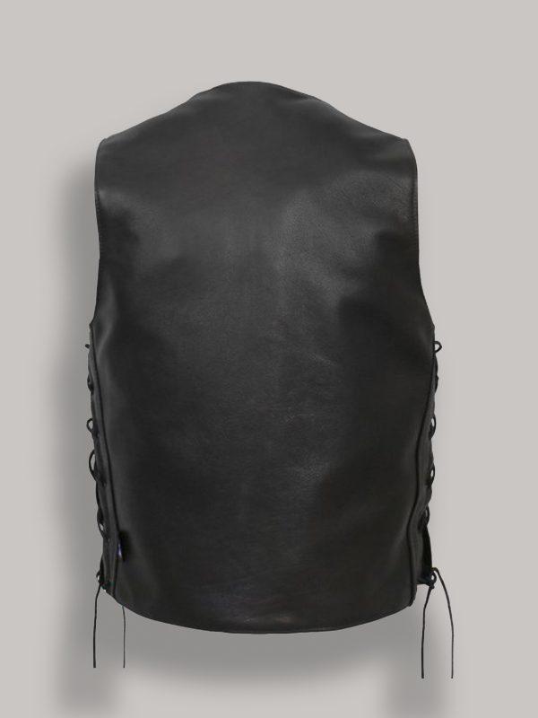 trending men black leather vest