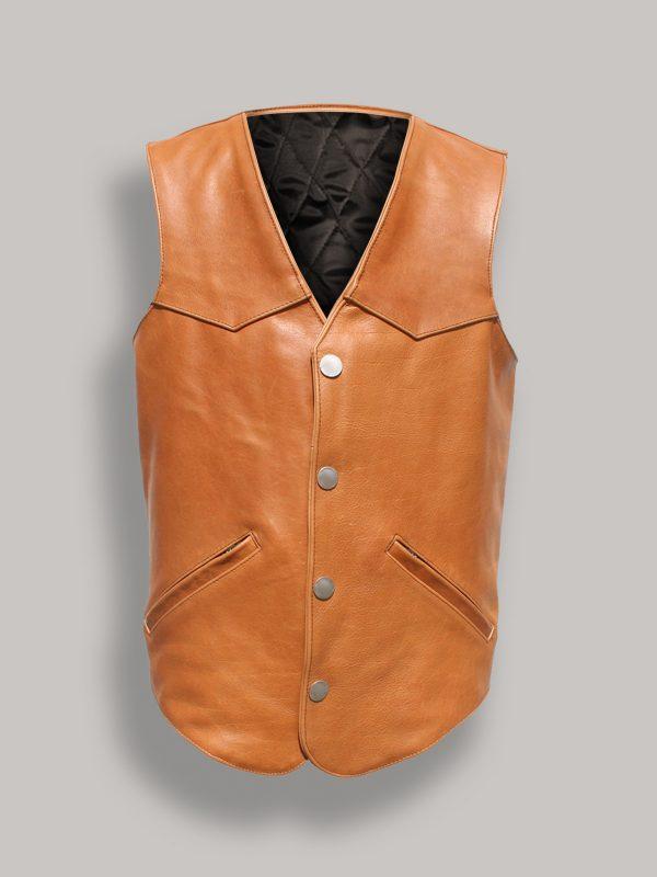 men tan brown leather vest