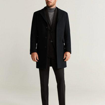 men pitch black wool coat
