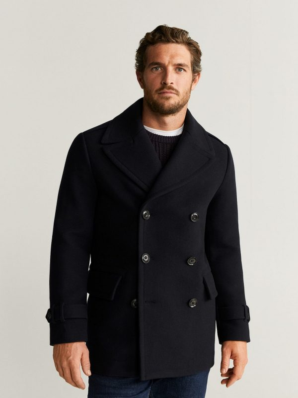 men black double breasted wool trench