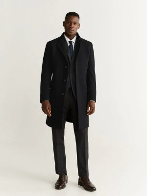 men pre black long coat
