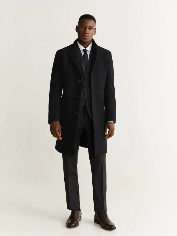 men pre black long coat