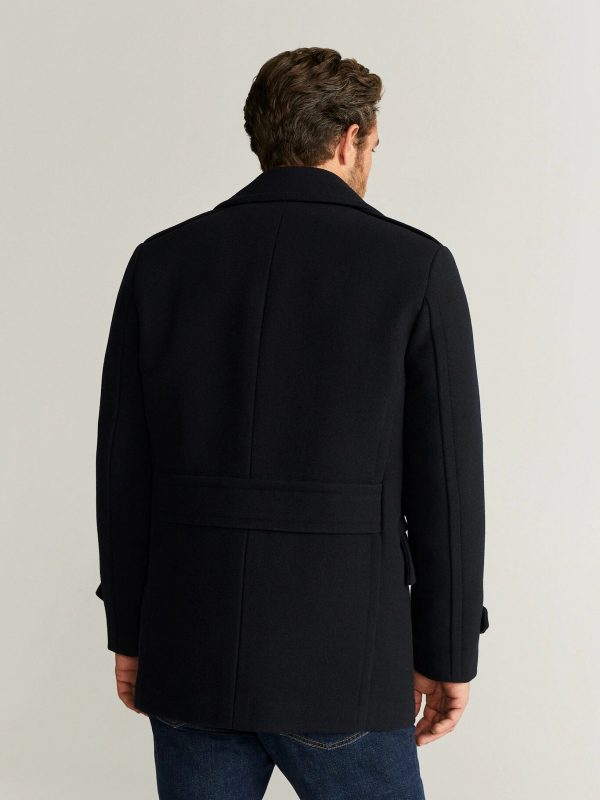 men black double breasted trench
