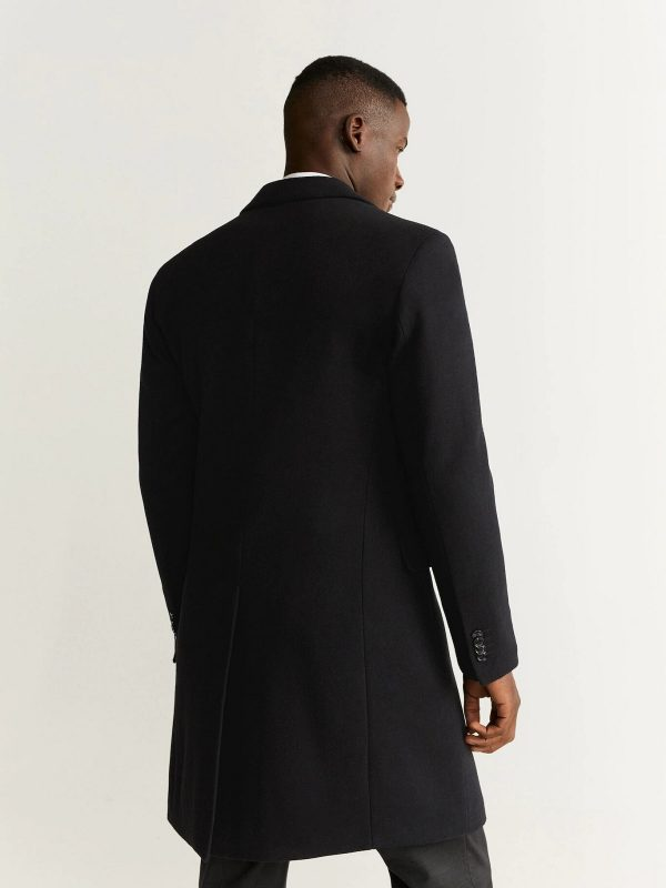 trending men black lapel coat