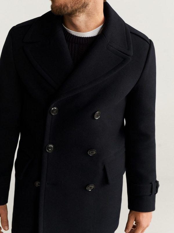 men black double breasted coat