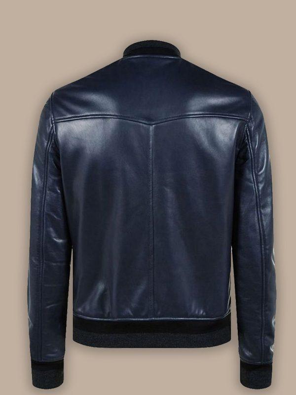 men shinny blue leather jacket