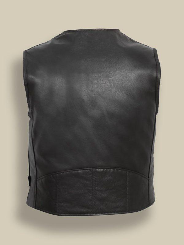 men plain black leather vest