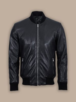 men pitch black bomber jacket