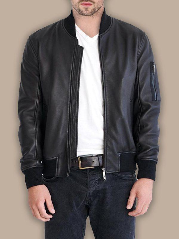 men jet black bomber jacket