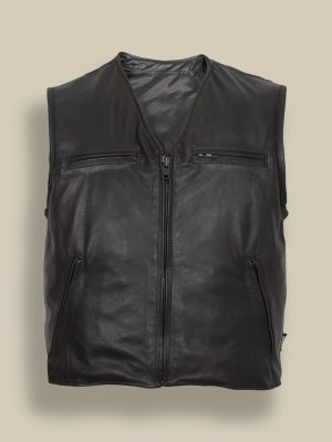 men black zipper vest
