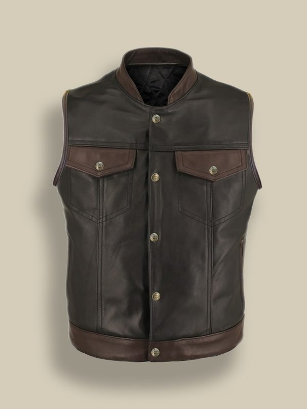men biker leather vest