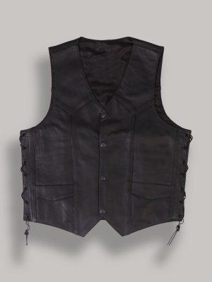 men cowboy leather vest