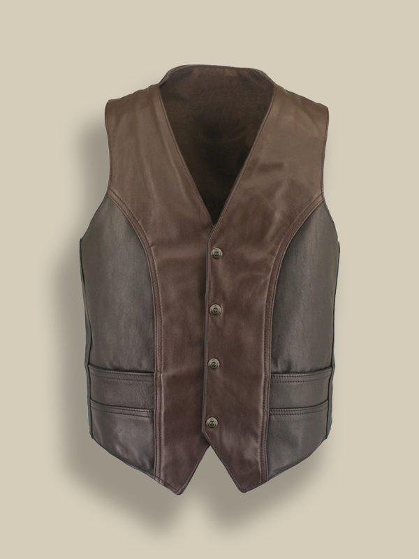 men vintage leather vest