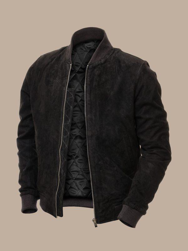 men black bomber suede jacket
