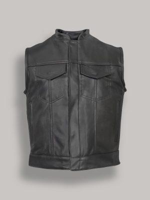 men black leather vest
