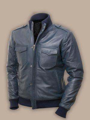 stylish men blue bomber jacket