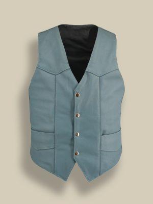 trending men blue leather vest