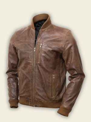 men dark brown bomber jacket
