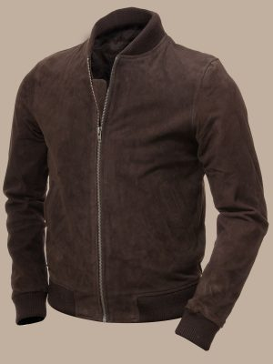 men brown suede bomber leather jacket