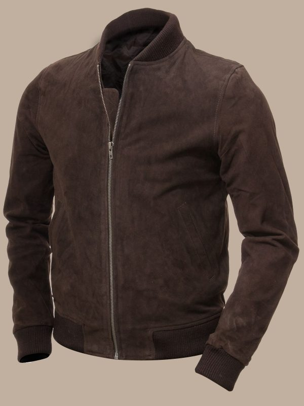 men brown suede bomber leather jacket