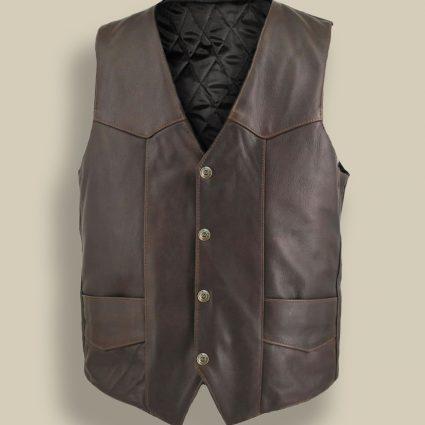 men dark brown vest