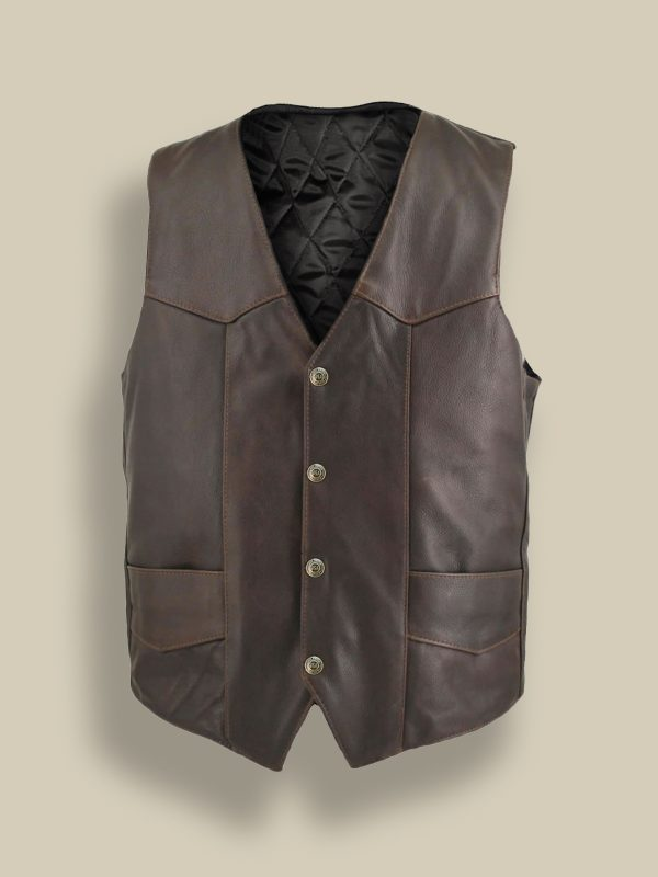 men dark brown vest