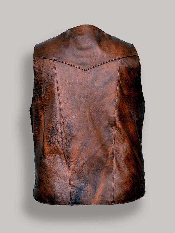 men dark brown leather vest
