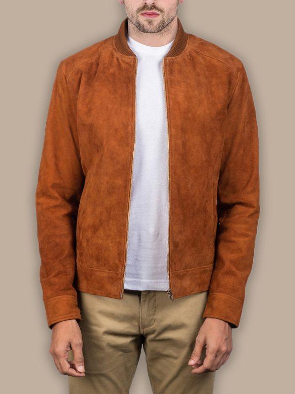 men brown suede jacket