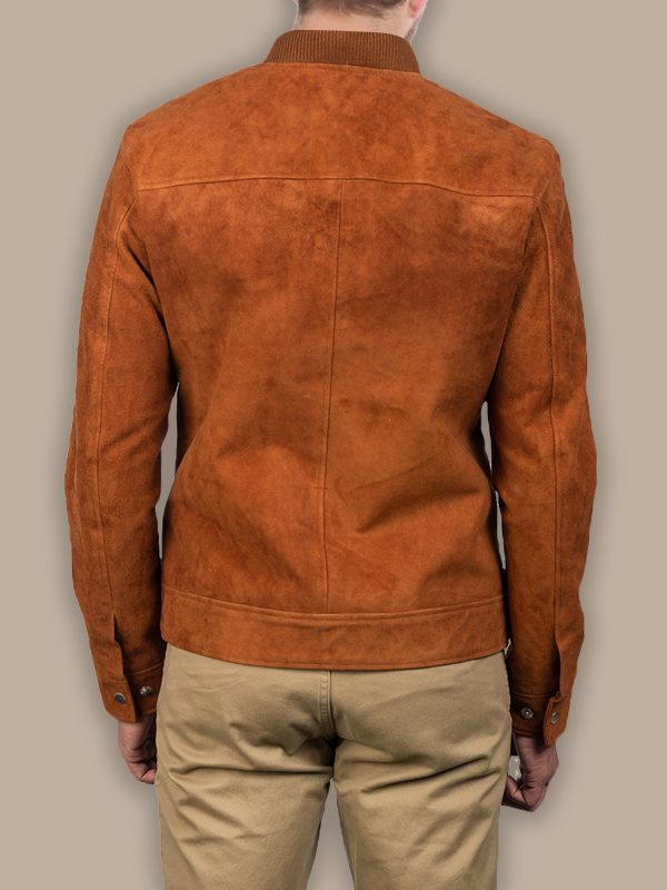 men brown suede leather jacket