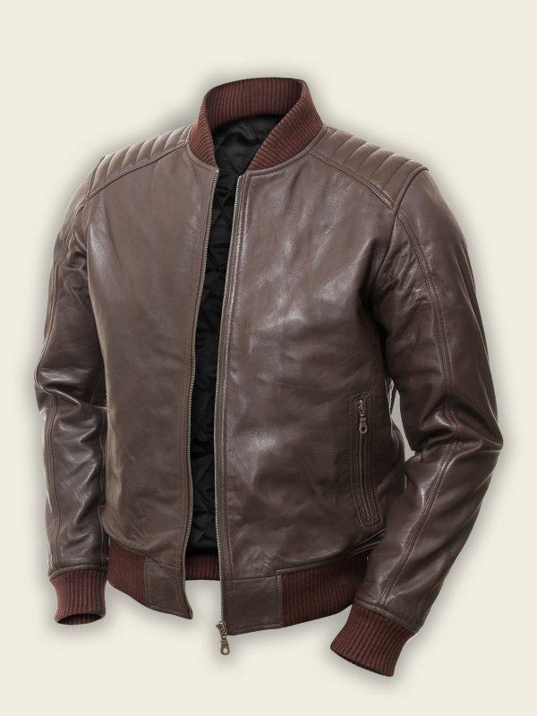 men dark brown bomber jacket