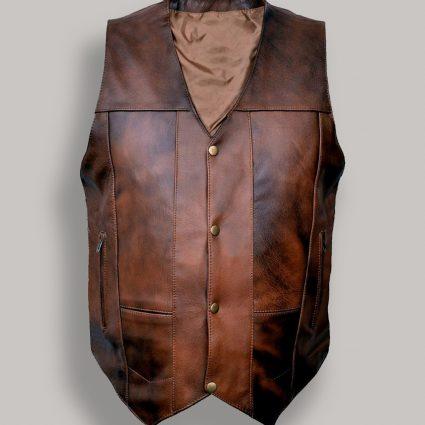 trending brown cowboy leather vest