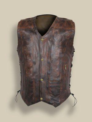men distressed brown leather vest