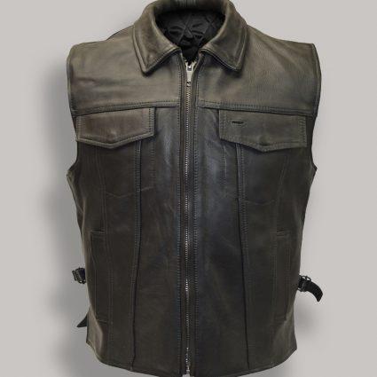 stylish black leather vest for men